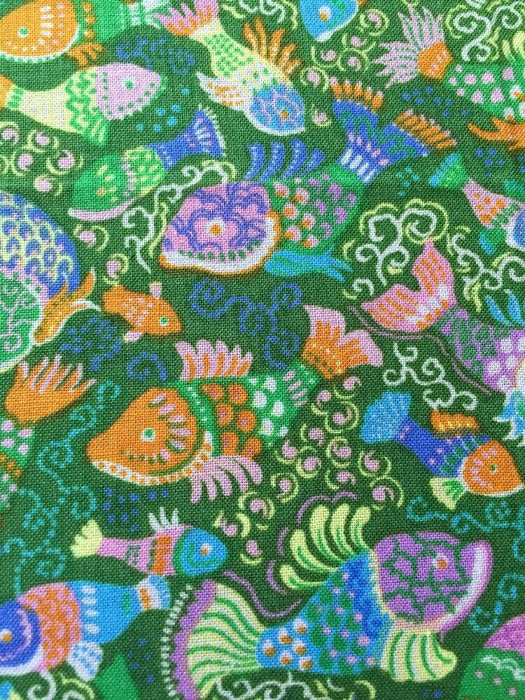 Rpa384 frolic under the sea fishes ocean life fish cotton for Fish fabric for quilting