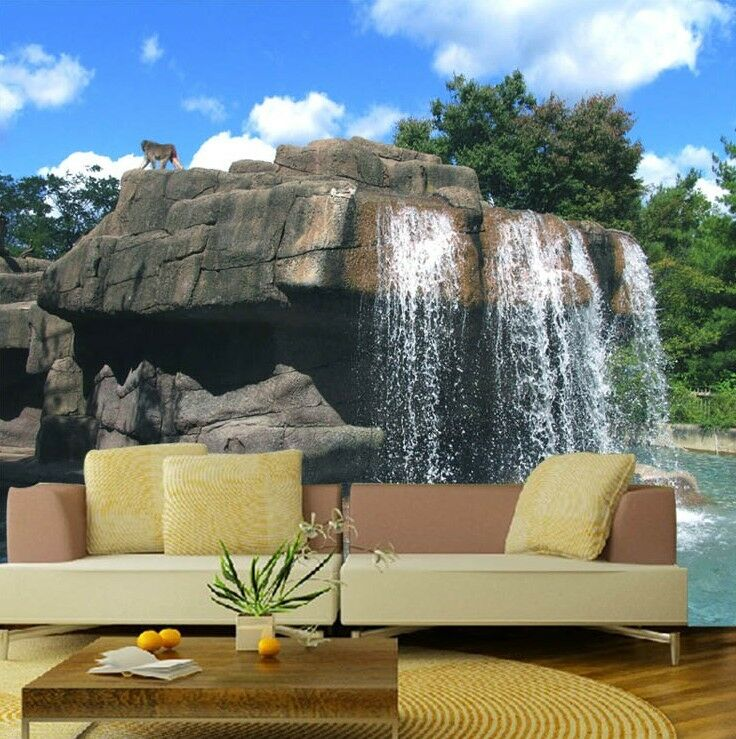 3d rock waterfall 1 wall paper wall print decal wall deco indoor wall murals ebay. Black Bedroom Furniture Sets. Home Design Ideas