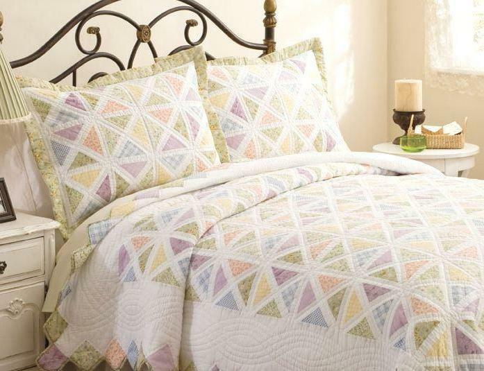 SUMMER PORCH Full Queen QUILT SET : COUNTRY COTTAGE FLORAL