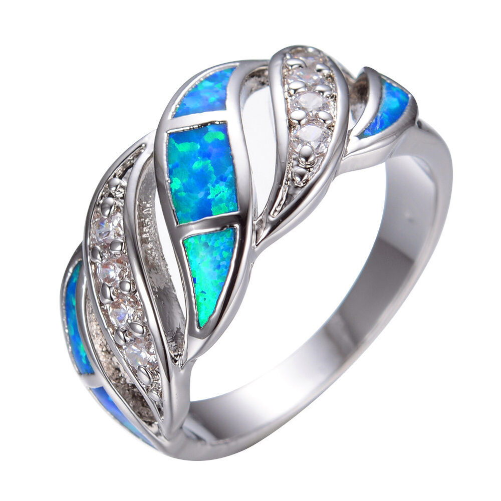 Elegant Blue Fire Opal & CZ Wedding Band Ring Women 925 Silver Jewelry Si