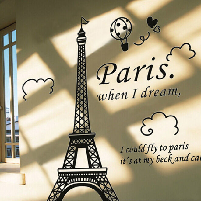Paris Eiffel Tower Black Diy Vinyl Art Decal Mural Fashion