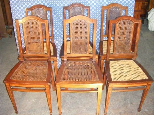 Inlaid Italian Antique Walnut Dining Room Chairs Blowout