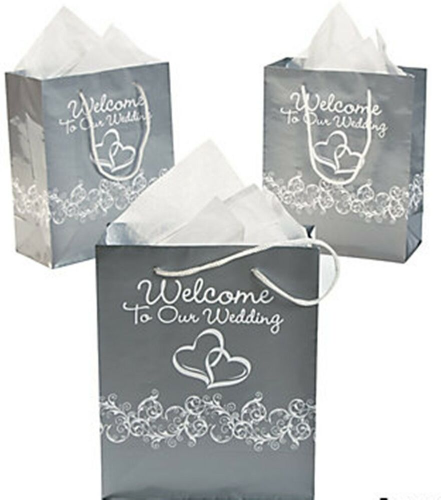 Wedding Gift Bags Bulk : ... Silver White Glossy Two Hearts Welcome to Our Wedding Gift Bags eBay