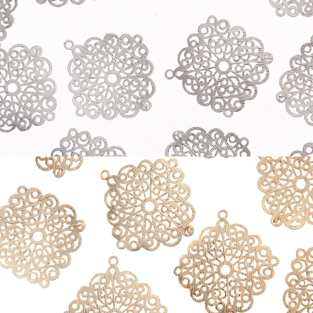 Unique filigree metal beads pendants connectors charms for Unique stones for jewelry making