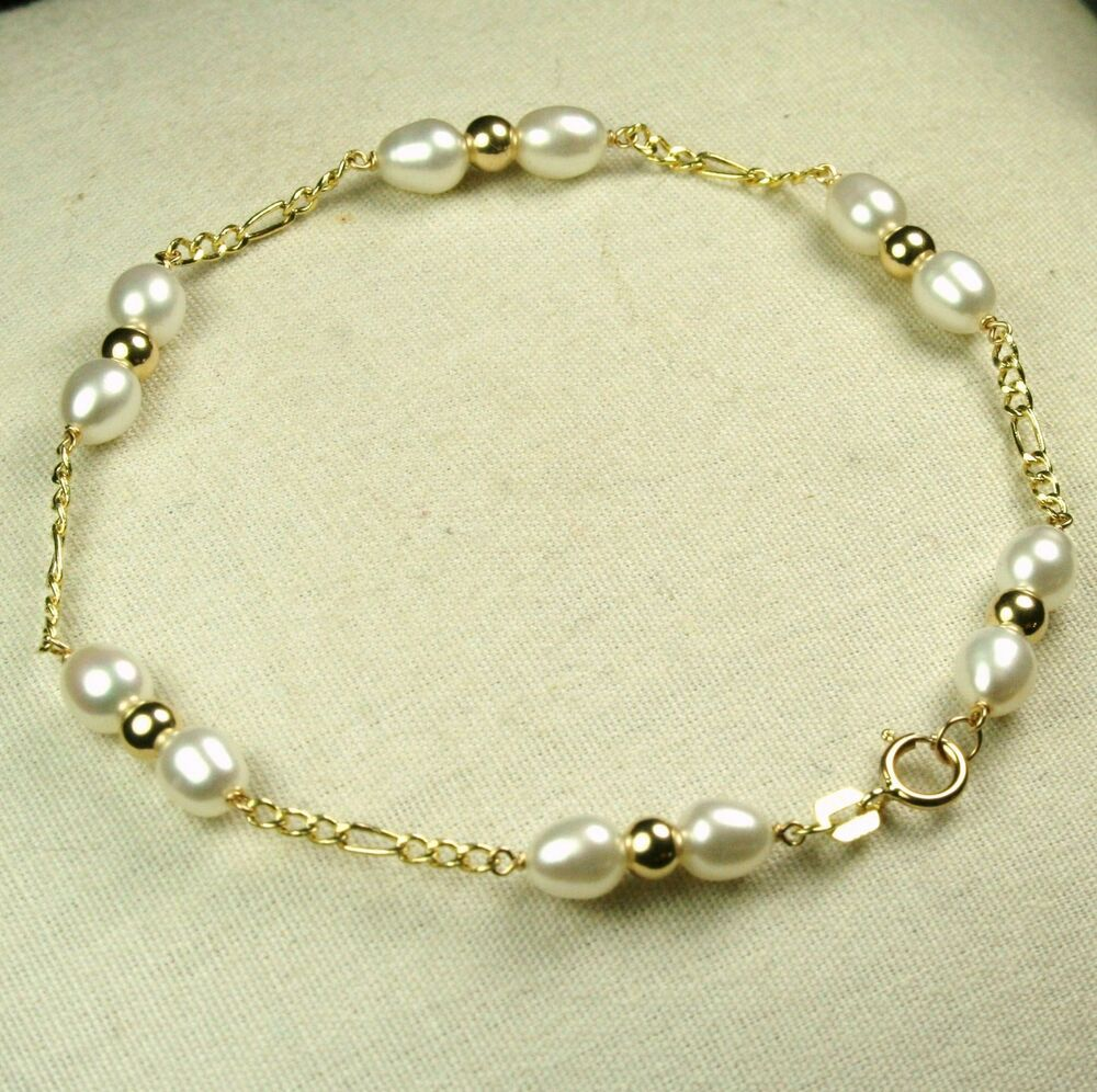 14k solid yell. gold high quality freshwater white pearl ...