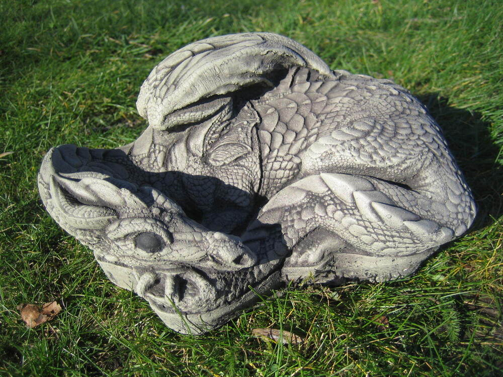 Granite Lawn Ornaments : Sleeping dragon stone garden ornament ebay