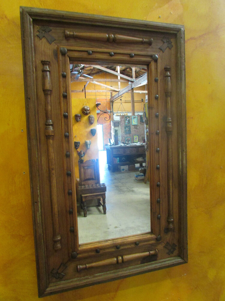 Old Door Primitive Mirror 2 Wood Rustic Antique 22x37