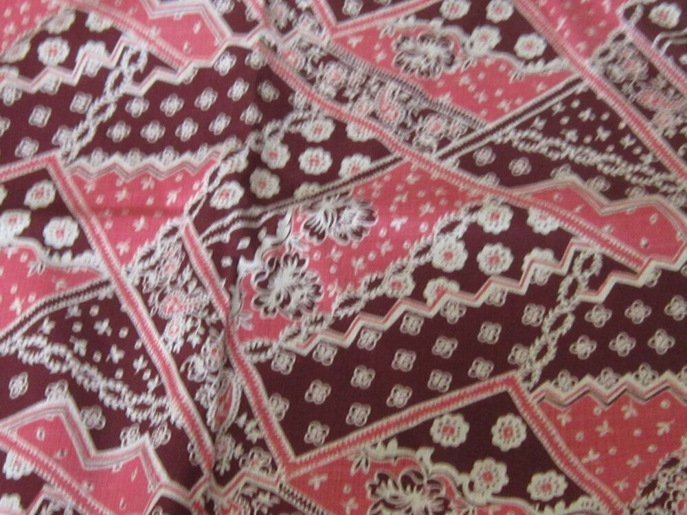 Pink novelty print vintage retro patchwork print floral for Retro fabric