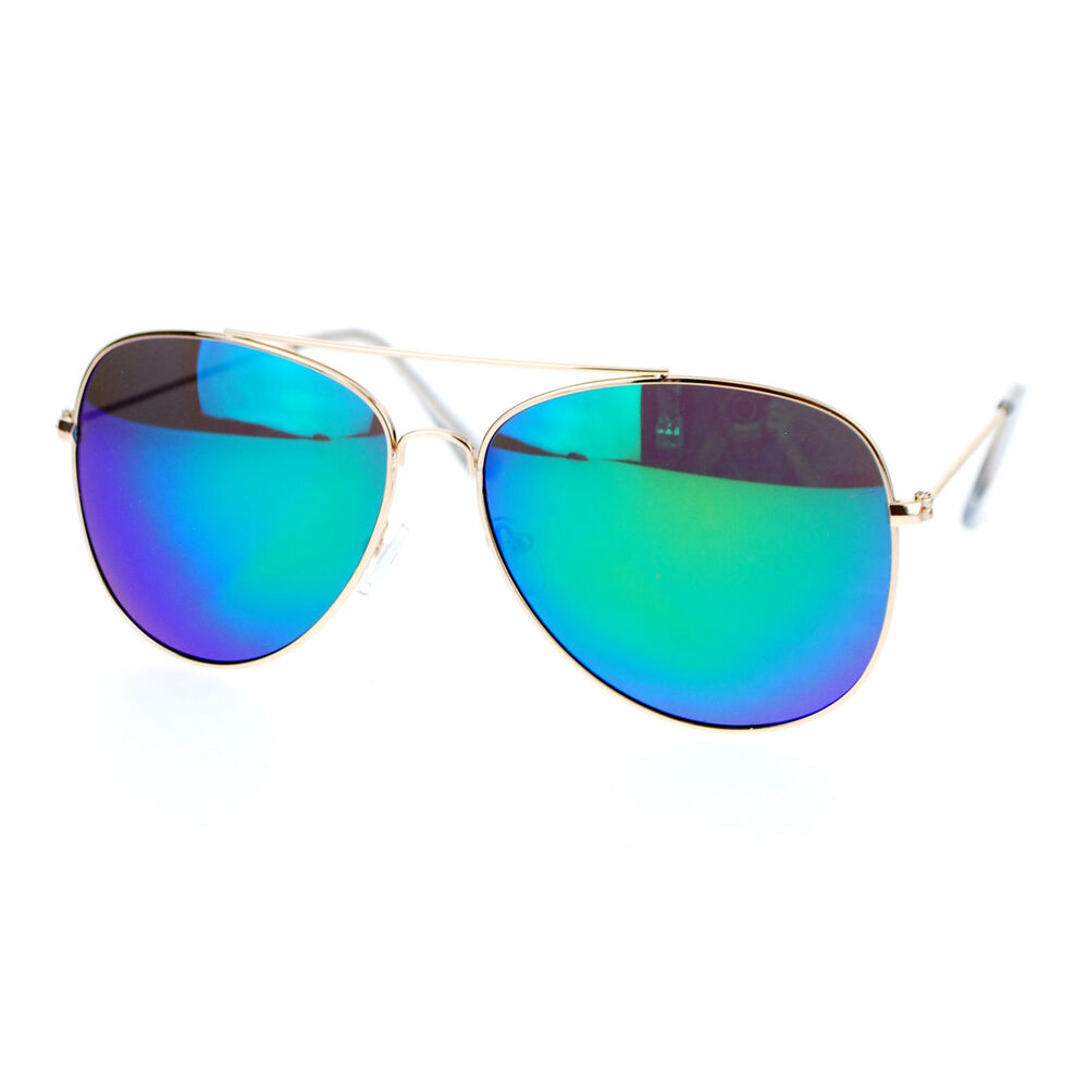 Gold Color Frame Sunglasses : Gold Metal Frame Aviator Sunglasses Multi-color Mirror ...