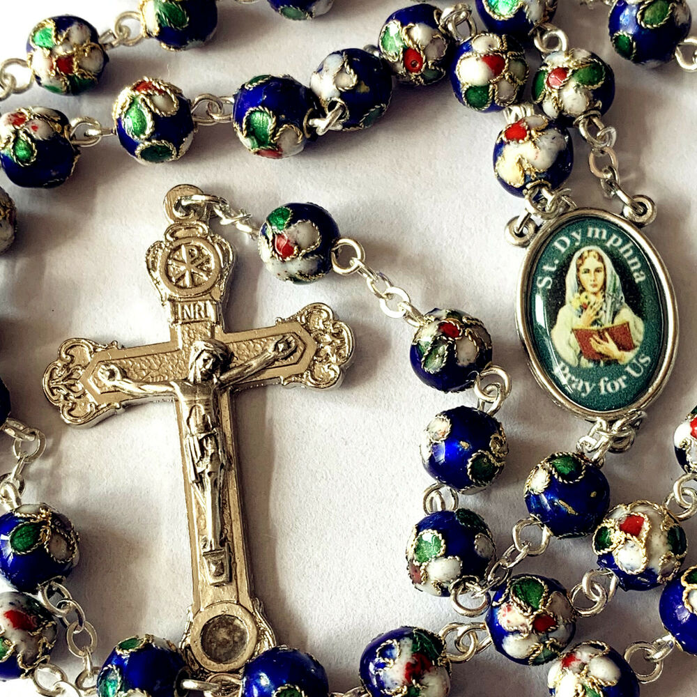 Blue Cloisonne Rose Beads Rosary Amp Italy Relic Cross