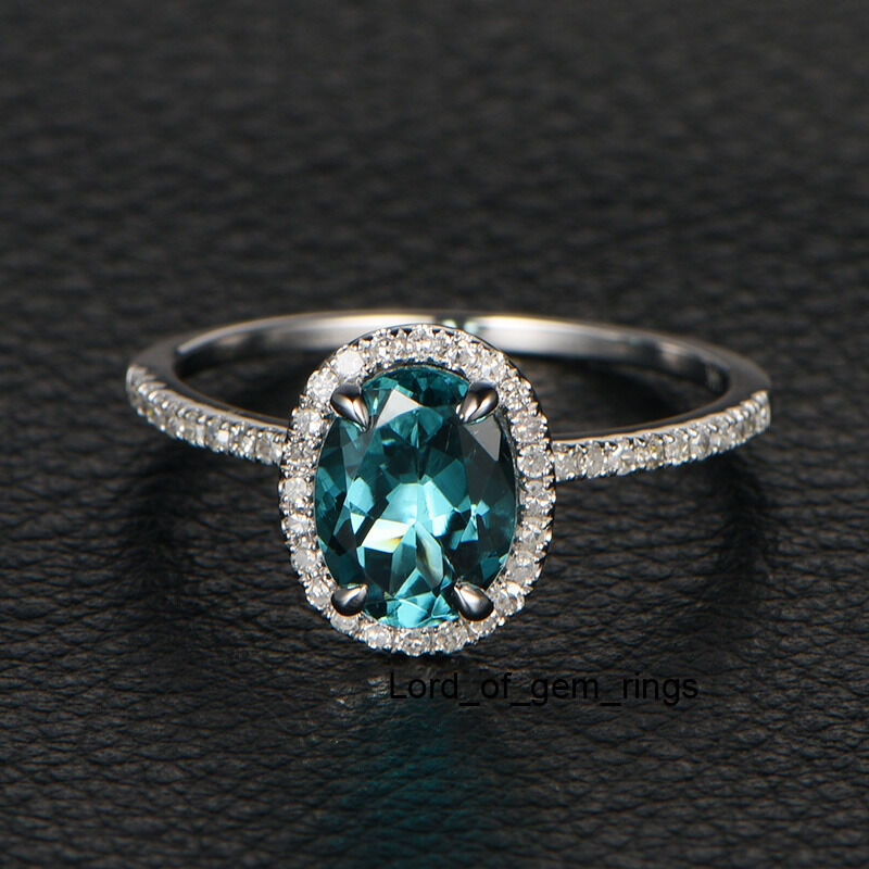 blue tourmaline diamond engagement wedding ring14k white With tourmaline wedding ring