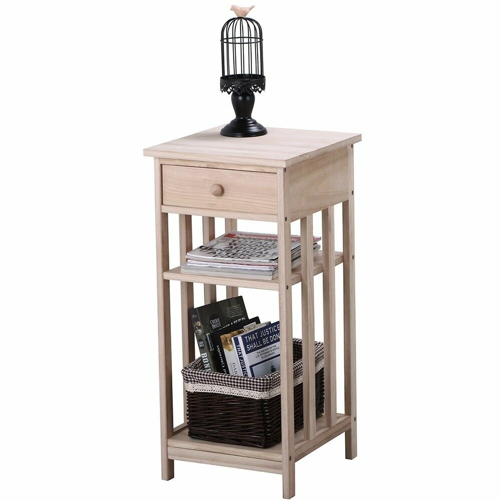 wooden bedside end table storage cabinet chest 3 drawers night console black ebay. Black Bedroom Furniture Sets. Home Design Ideas