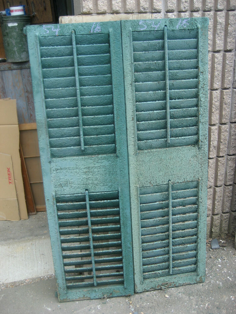 Pair C1880 Fixed Louvered Victorian Wooden House Shutters Green 54 X 16 X 1 1 8 Ebay