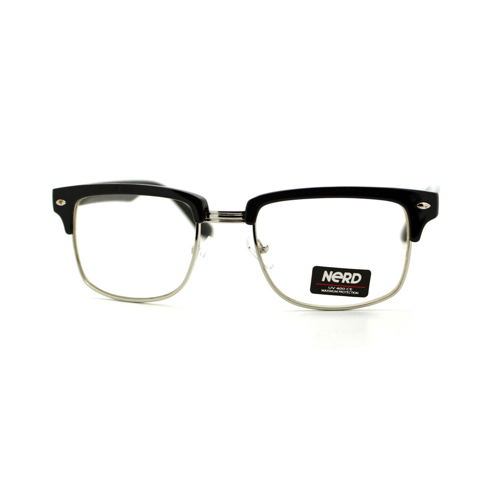 Square Framed Fashion Glasses : Designer Fashion Eyeglasses Half Metal Plastic Top Square ...