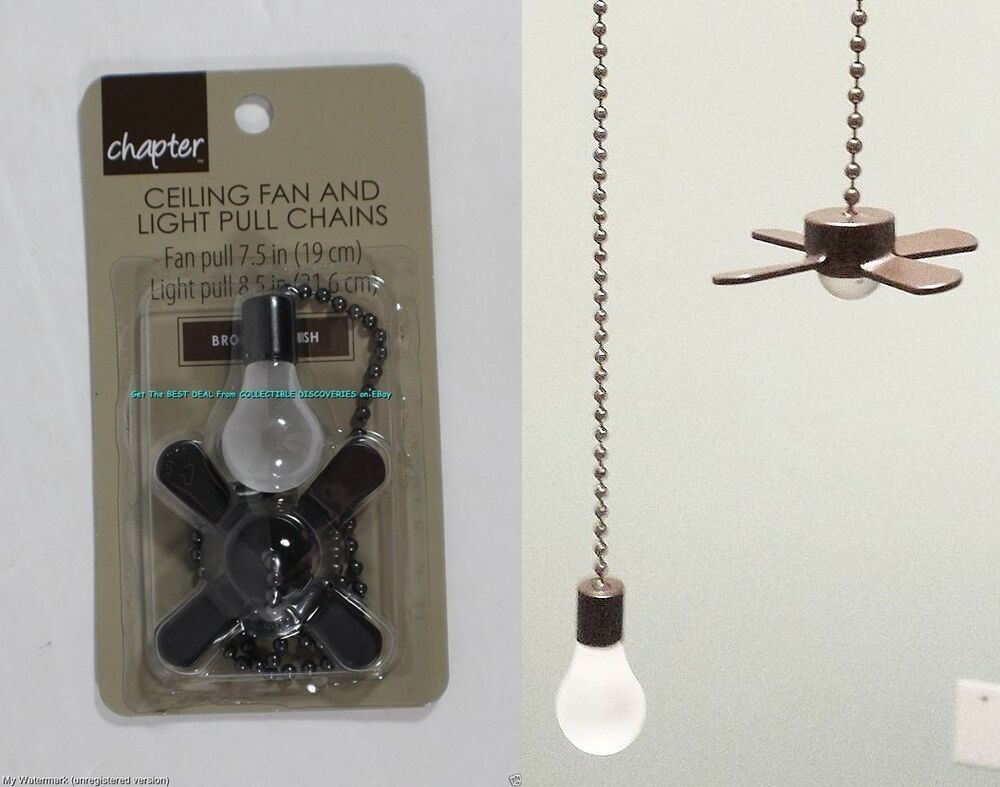 Ceiling Fan Amp Light Bulb Bronze Brown Metal Pull Chain Set