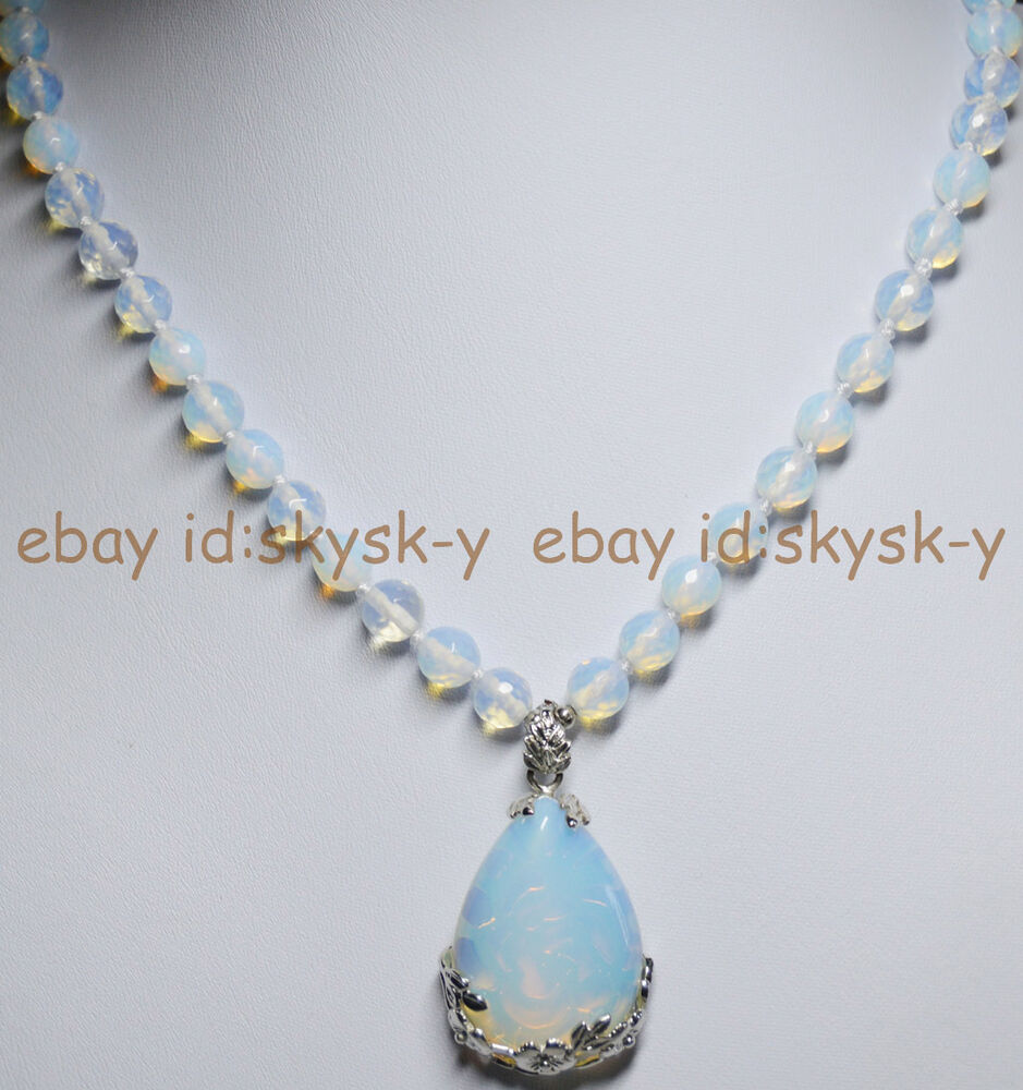 Moonstone Necklaces: 8mm Faceted SriLanka Moonstone Gems Round Beads White