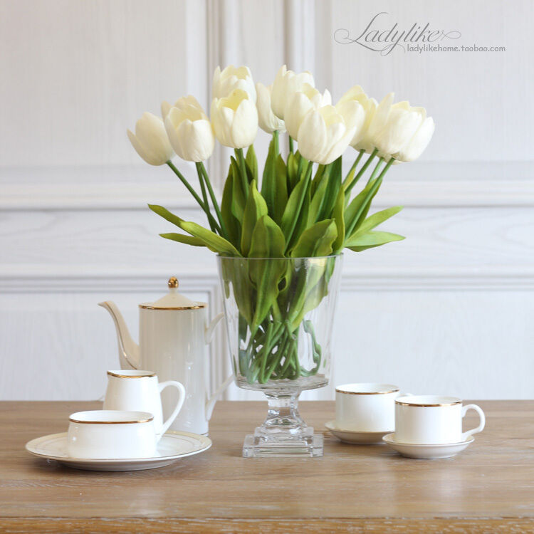 Tulip artificial flower latex real touch bridal wedding for Home decorations on ebay