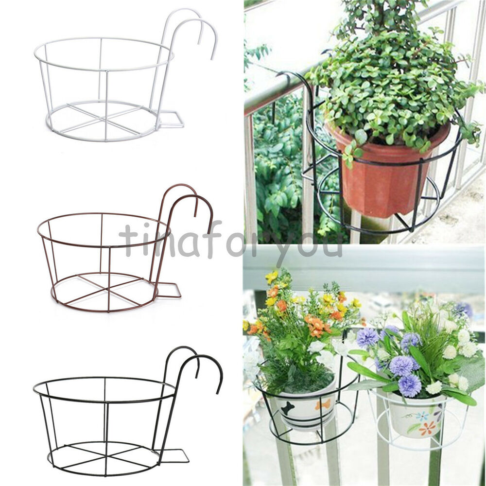 Metal iron flower pot hanging balcony garden plant planter - Hanging baskets for balcony ...