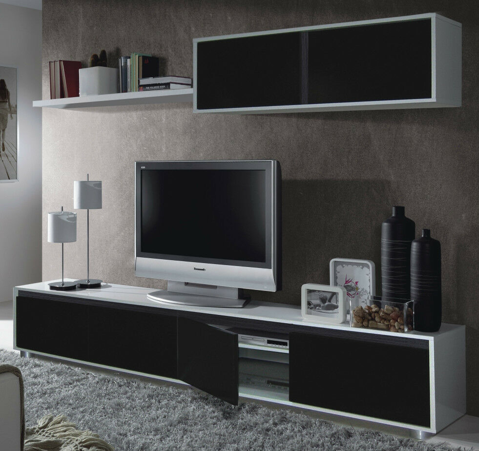 Aida tv unit living room furniture set media wall black on for Living room unit sets