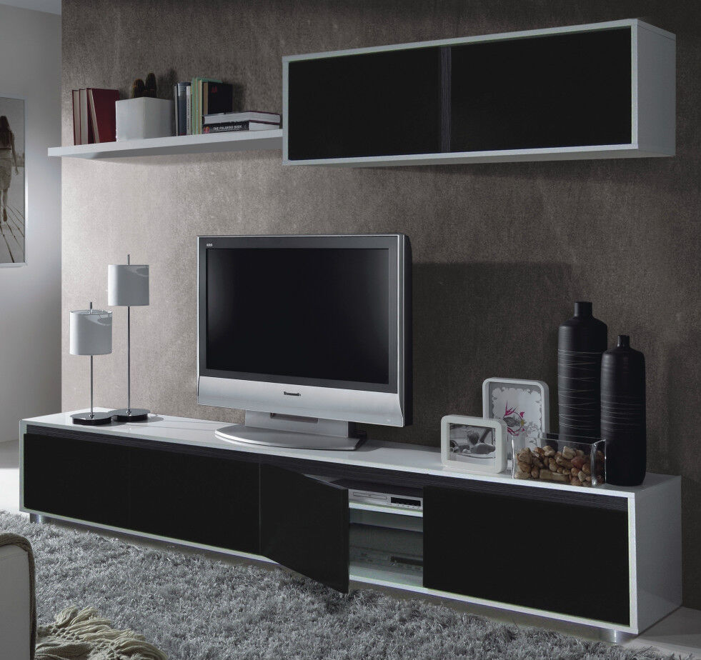Aida TV Unit Living Room Furniture Set Media Wall Black On White Melamine EBay