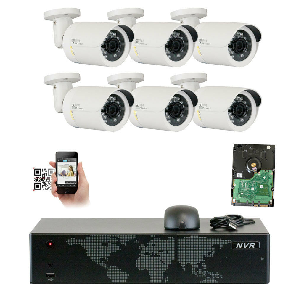 Full Hd 8ch Nvr 6 Pc 5mp 1920p Onvif Outdoor Poe Ip