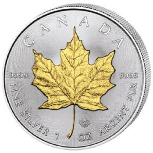 2015 Canadian Silver Maple Leaf Coin 999 Fine Gilded Bu