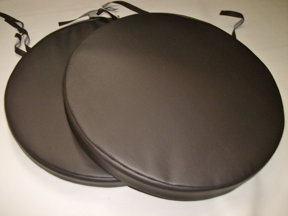 2 Brown Faux Leather Round Dining Garden Chair Cushion