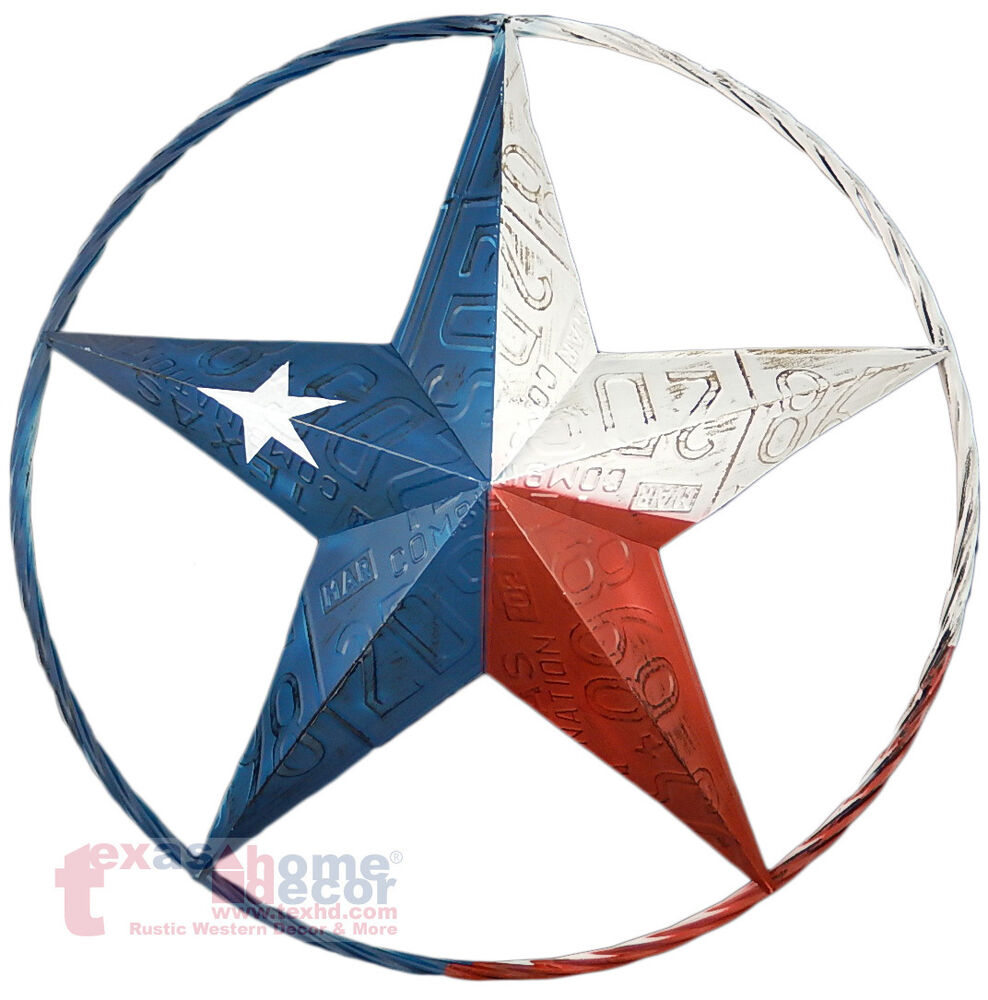 Texas flag barn star metal embossed license plate western for Barn star decorations home