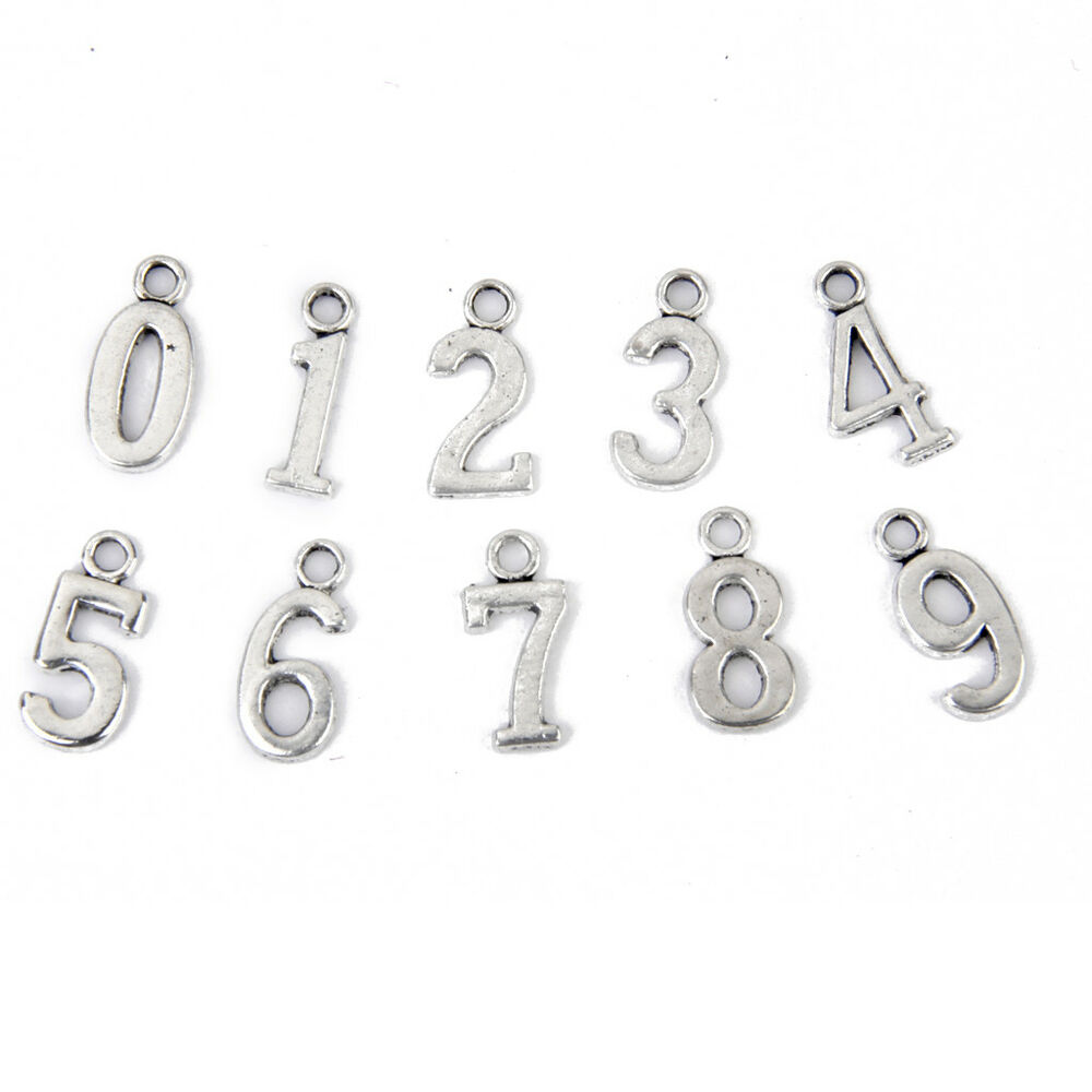 Slide Charms For Bracelets: 100pcs Numbers Slide Beads Pendant Charms Silver Wristband