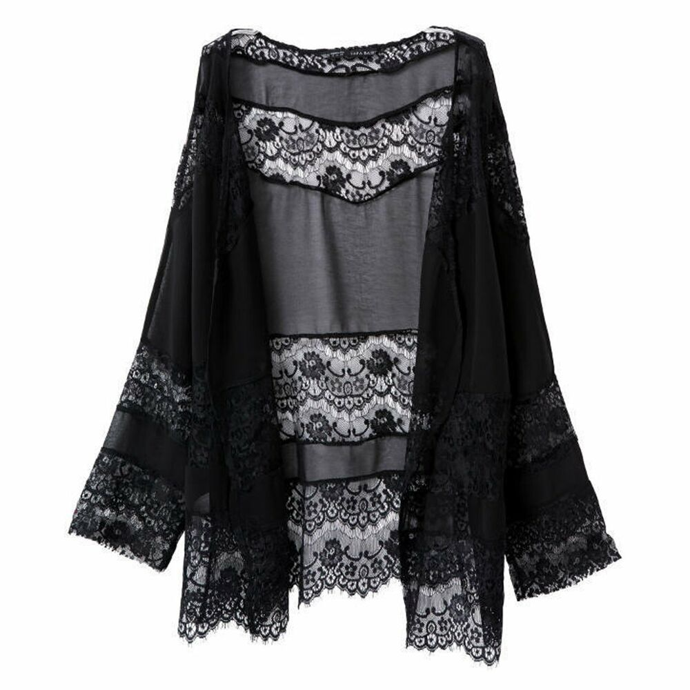 Hot Women Tops Vintage Boho Open Front Lace Kimono