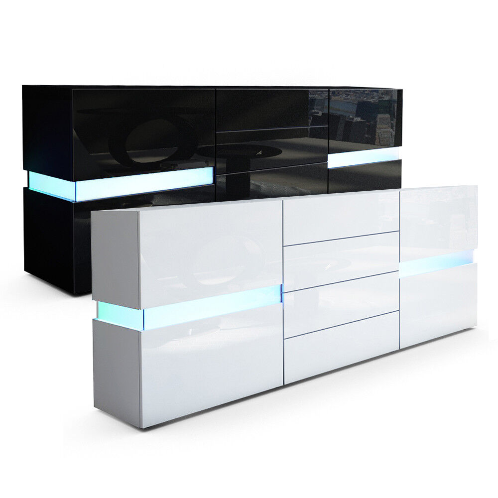 sideboard kommode flow in wei oder schwarz hochglanz 177 cm ambient light ebay. Black Bedroom Furniture Sets. Home Design Ideas