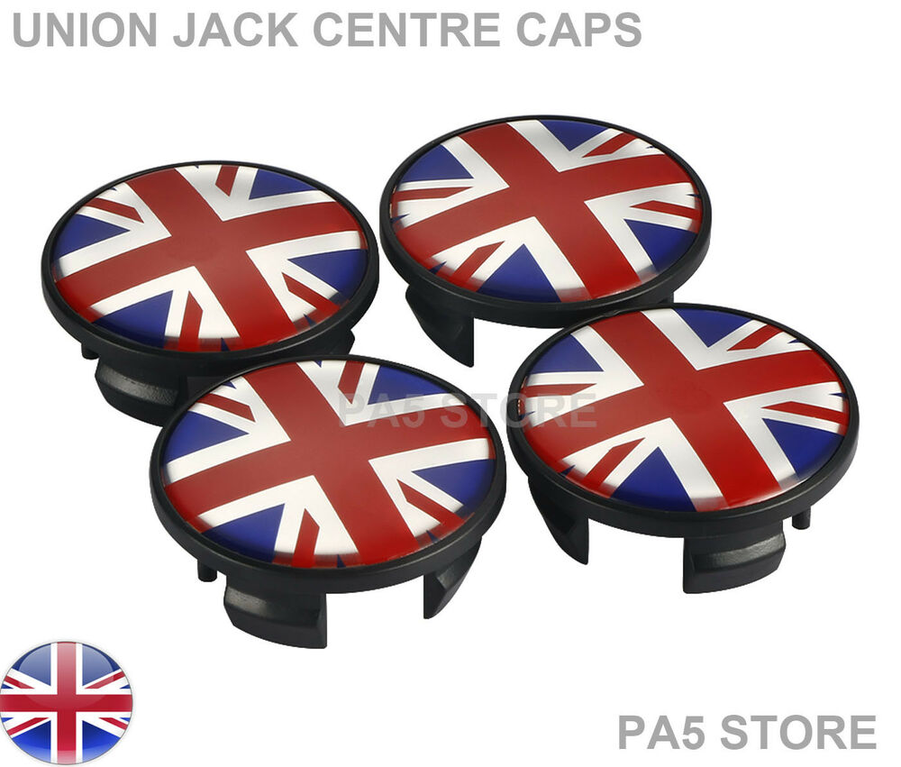 4x mini wheel centre caps 54mm red blue white union jack. Black Bedroom Furniture Sets. Home Design Ideas