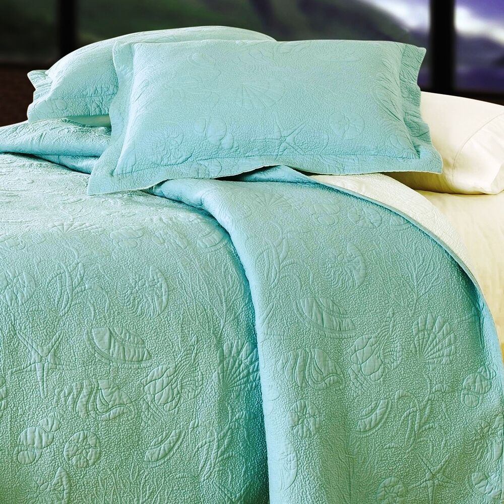 AQUA BLUE SHELL ** King ** QUILT SET : GREEN COTTON ...