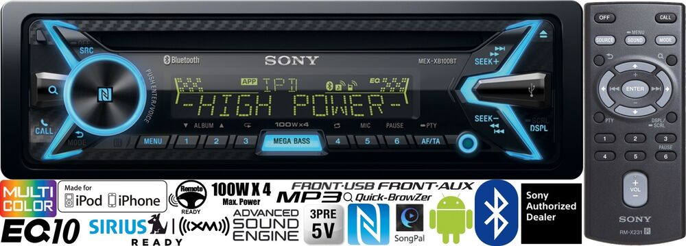 s l1000 sony mexxb100bt car stereo radio bluetooth cd player songpal 100w  at nearapp.co