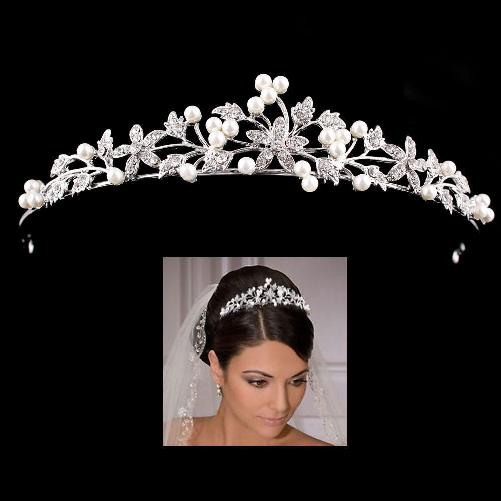 Princess Wedding Bridal Prom Party Pearl Crystal Flower
