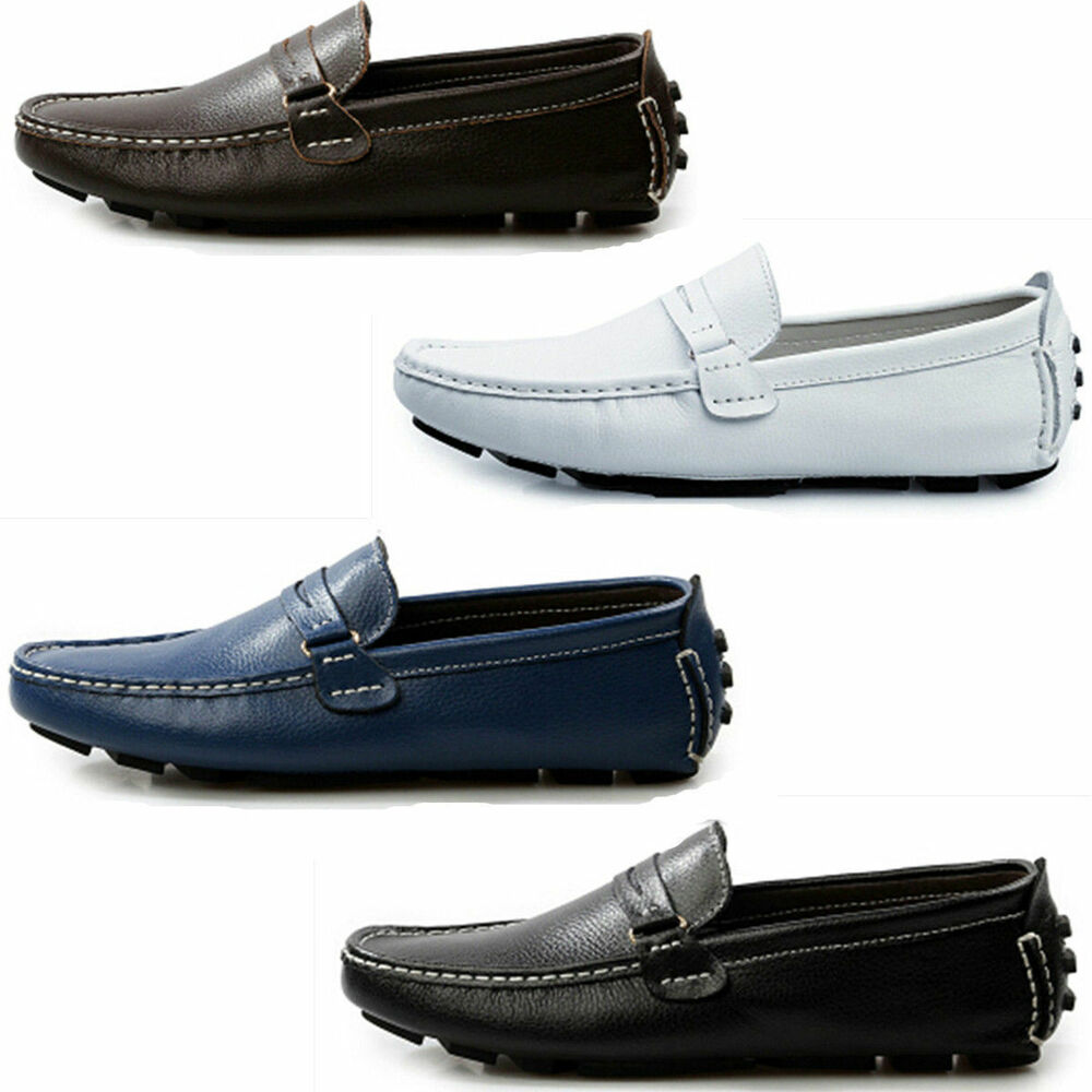 Mens Casual Leather Slip On Loafers Shoes Elite Driving ...