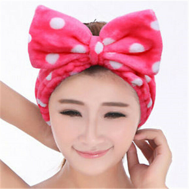 Details about FD1773 Cute Big Bow Rose Pink Towel Hair Band Wrap Headband  Bath Spa Make Up A 0c269ab57bd7