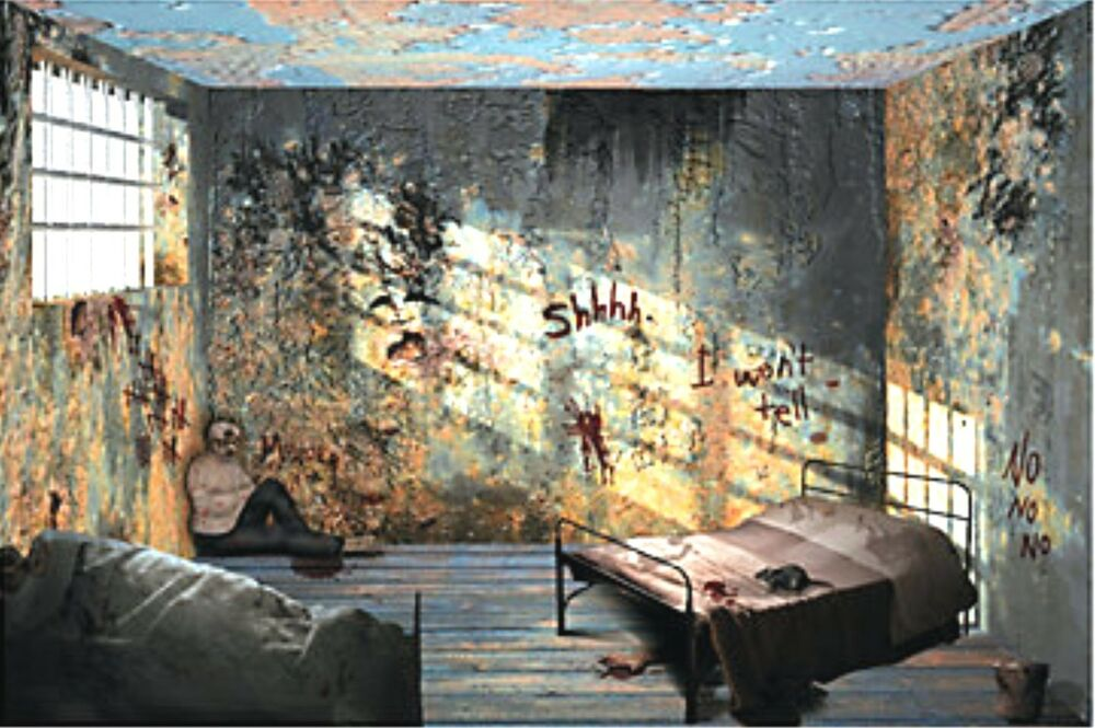 9 foot hospital insane asylum wall mural halloween scene for Wall scenes