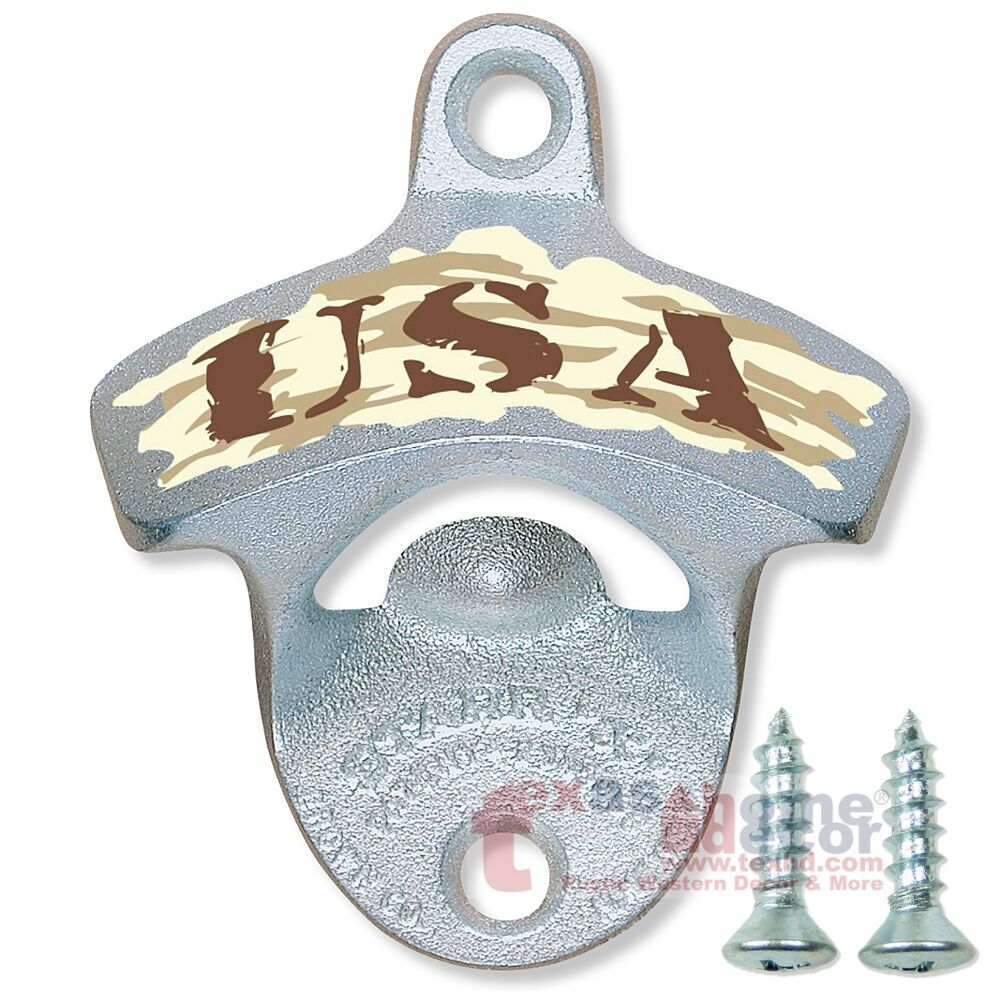 usa bottle opener desert camo starr x wall mounted with screws sturdy cast iron ebay. Black Bedroom Furniture Sets. Home Design Ideas