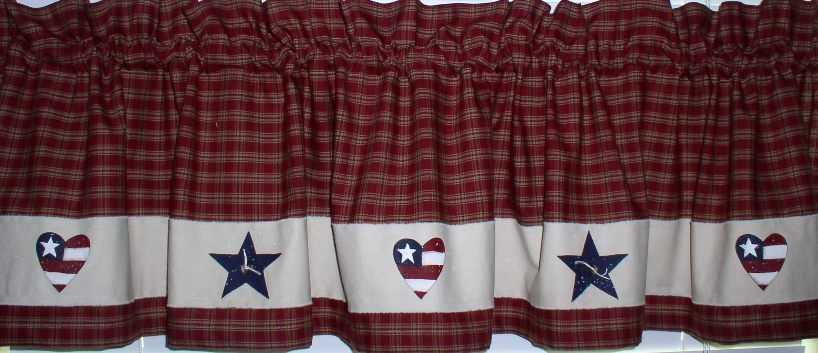 Hearts And Stars Valance Primitive Country Kitchen Home Decor