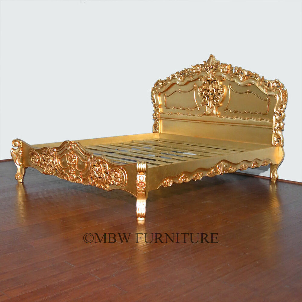 Gold french style rococo carved ornate e king bed so