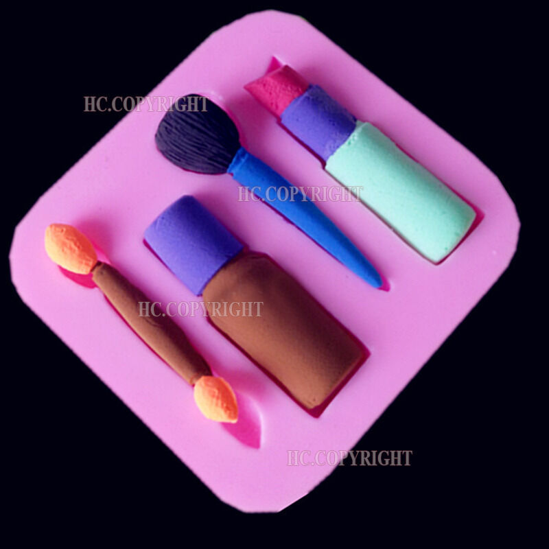 Cake Fondant Nails: Lip Stick Nail Polish Eyebrow Pencil Make Up Silicone