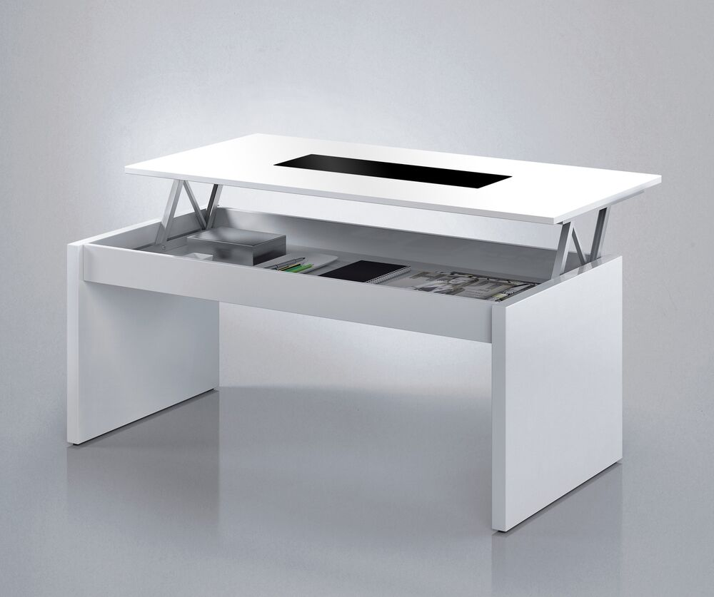 Lucia lift up coffee table storage modern white glass lounge riser ebay Contemporary coffee tables with storage