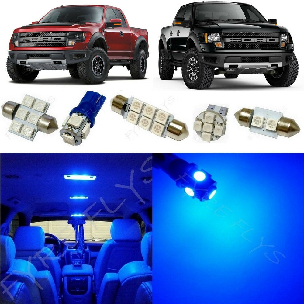 7x blue led lights interior package kit for 2010 2014 ford. Black Bedroom Furniture Sets. Home Design Ideas