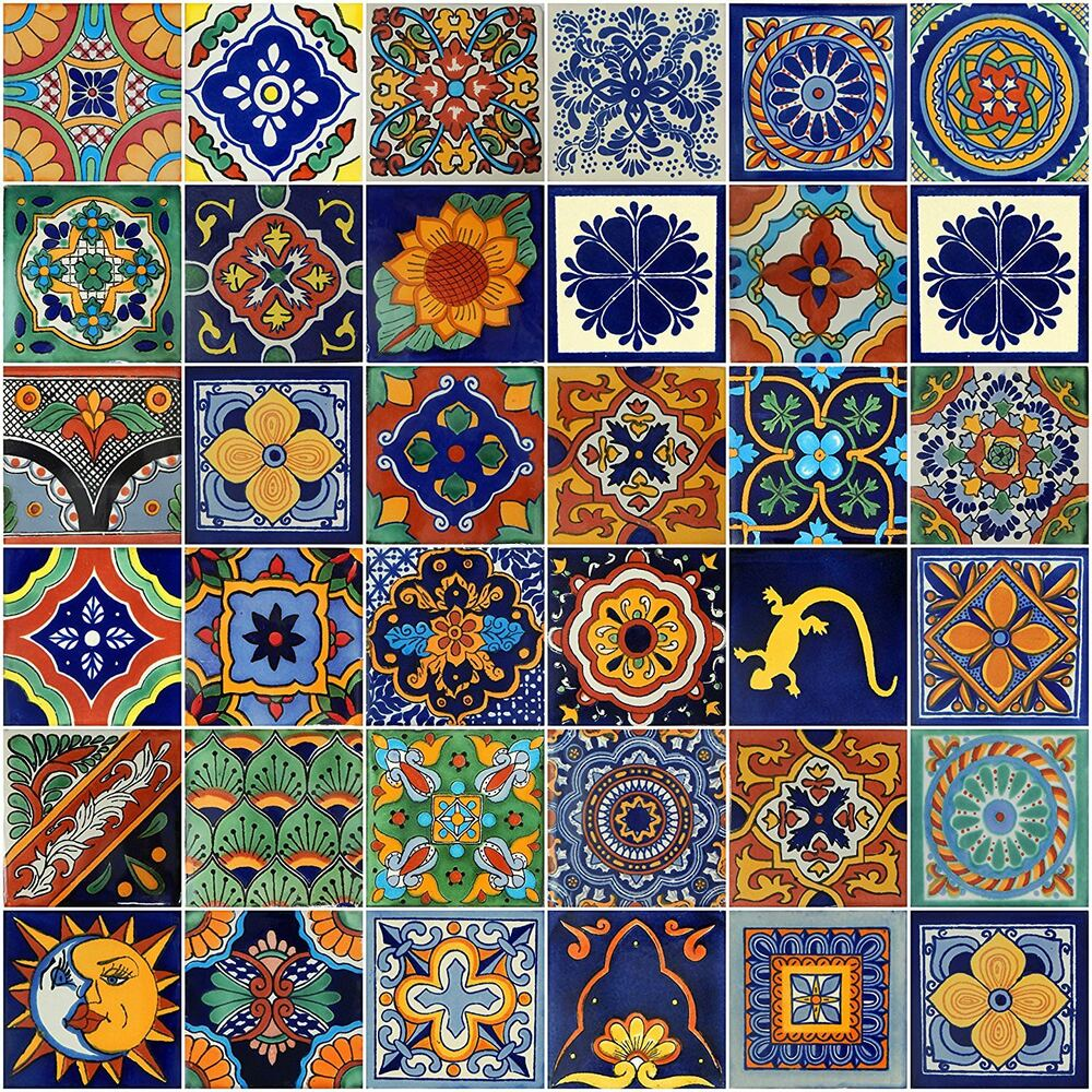 100 mexican talavera ceramic tiles 4 mixed ebay. Black Bedroom Furniture Sets. Home Design Ideas