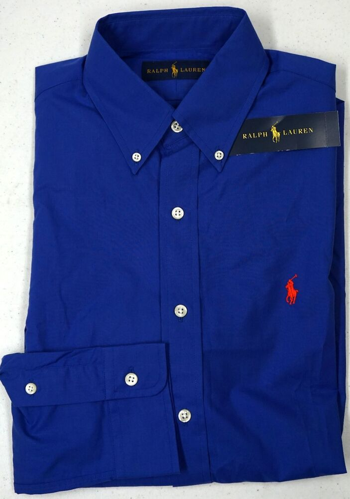 nwt 98 polo ralph lauren shirt mens blue long sleeve xlt