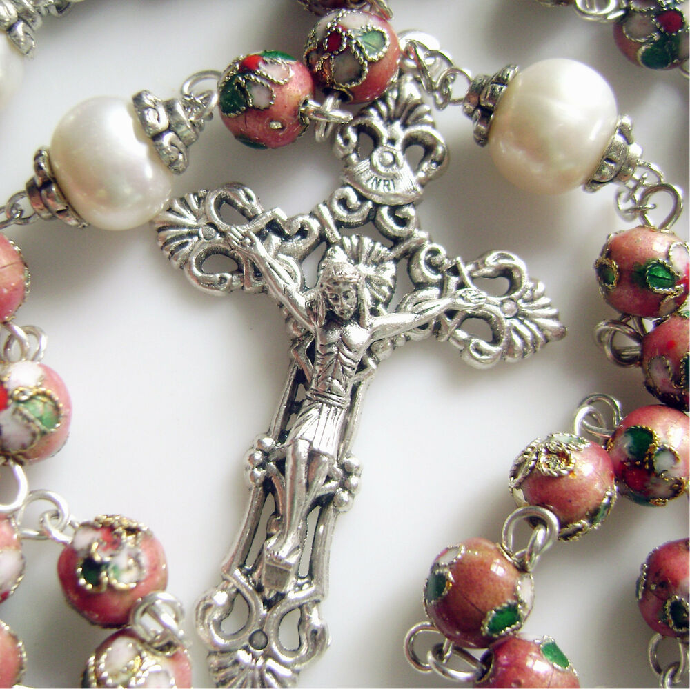 8mm Pink Cloisonne 10mm Pearl Bead Rosary Cross Necklace