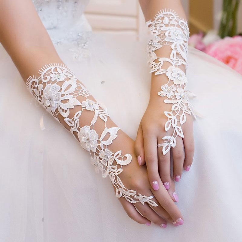 Wedding Party Bridal Bridesmaid Long Gloves White Lace