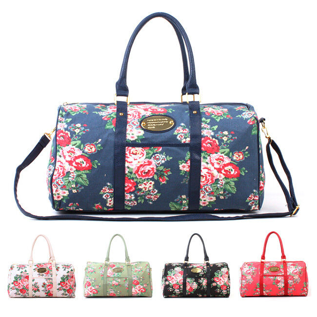Shoulder Bag Floral Flower Weekender Tote Duffel Travel Boston Handbag Canvas | EBay