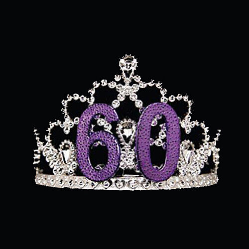 60th Birthday Tiara Features A Silver And Purple Crown